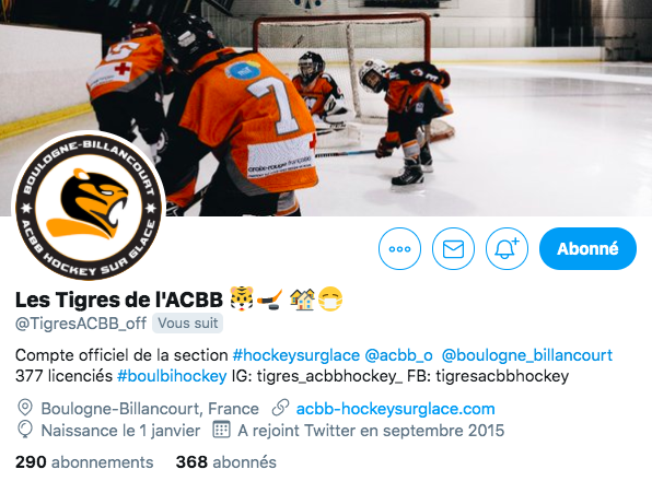 Compte Twitter des Tigres de l'ACBB