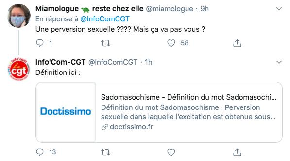 Définition de BDSM trouvée par la CGT sur Doctissimo